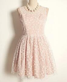 Pink Sleeveless Flower Embroidery Lace Dress