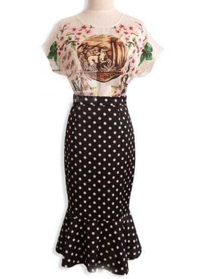 White Vintage Pattern Top With Black Polka Dot Skirt