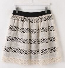 Beige Hollow Ruffle Belt Skirt