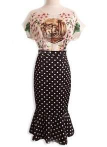 White Vintage Pattern Top With Black Polka Dot Skirt