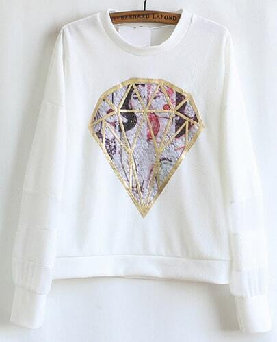White Long Sleeve Diamond Embroidery Contrast Chiffon Sleeve Sweatshirt