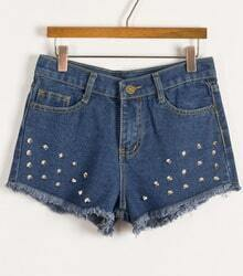 Blue Rivet Pockets Fringe Denim Shorts