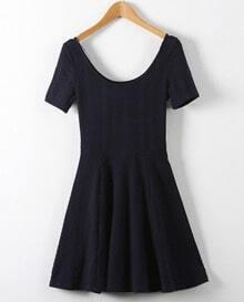 Navy Short Sleeve Ruffle Dress
