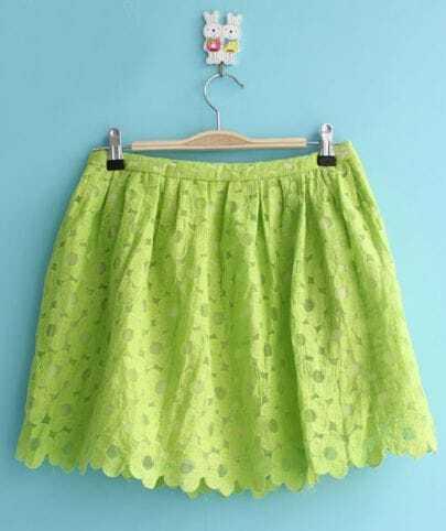 Green Hollow Flower Lace Skirt