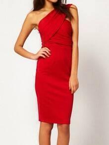 Red One Shoulder Backless Split Bodycon Dress