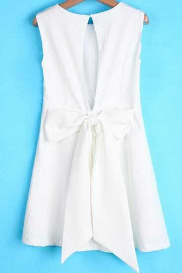 White Round Neck Sleeveless Back Bow Dress