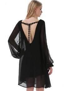 Black V Neck Split Long Sleeve Embroidered Dress