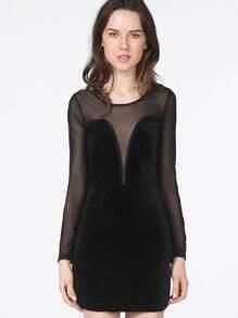 Vestido combinado tul-Negro