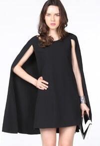 Black Round Neck Cape Chiffon Dress
