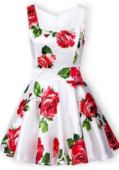 Vestido estampado rosas-Blano
