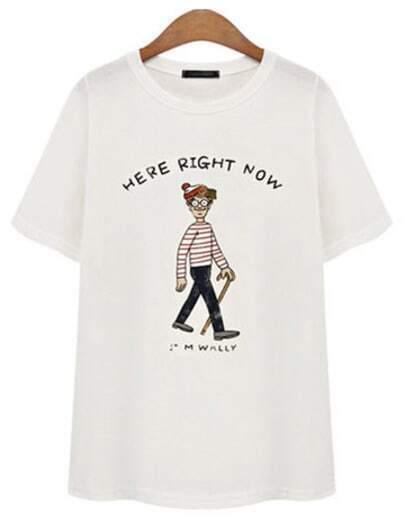 Camiseta Cartoon manga corta-blanco