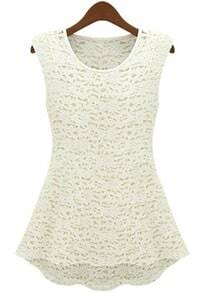 White Round Neck Sleeveless Hollow Lace Dress