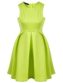 Green Round Neck Sleeveless Ruffle Flare Dress