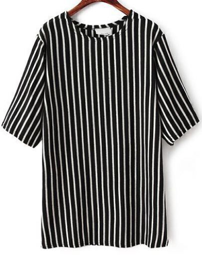 Black White Vertical Stripe Half Sleeve T-Shirt