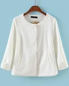 White Round Neck Pockets Crop Coat