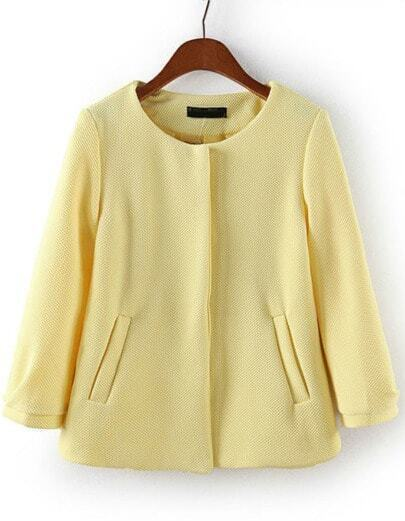 Yellow Round Neck Pockets Crop Coat