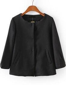 Black Round Neck Pockets Crop Coat