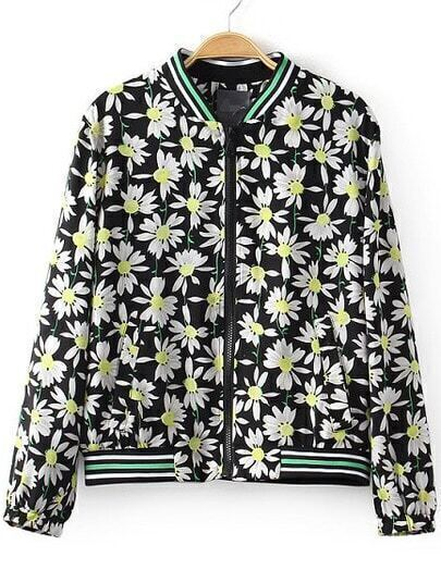 Black Stand Collar Floral Crop Jacket