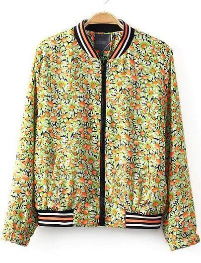 Green Stand Collar Floral Crop Jacket