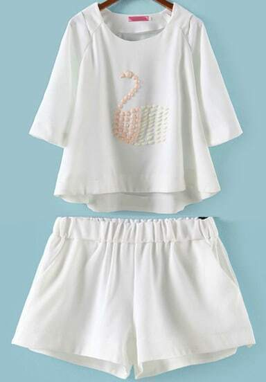 White Half Sleeve Bead Swan Pattern Top With Shorts