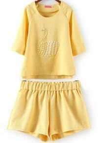 Yellow Half Sleeve Bead Swan Pattern Top With Shorts