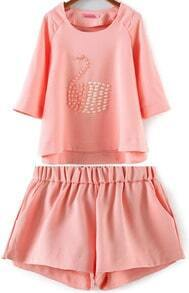 Pink Half Sleeve Bead Swan Pattern Top With Shorts
