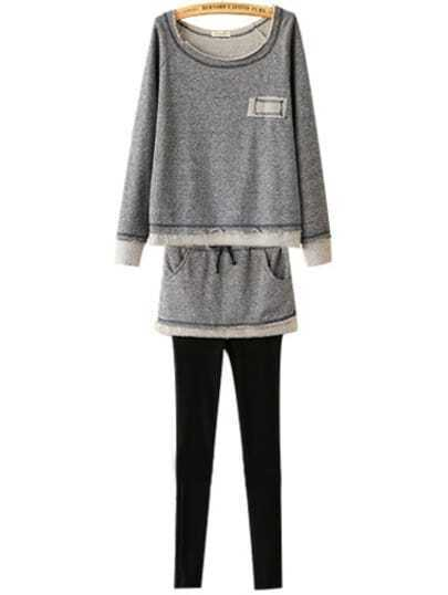 Grey Long Sleeve Loose Top With Skirt Pant