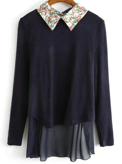 Navy Contrast Floral Lapel Chiffon Knit Sweater