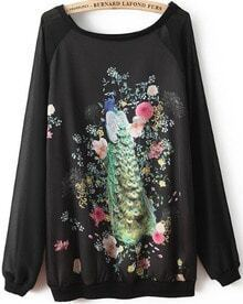 Black Long Sleeve Peacock Print Loose Sweatshirt