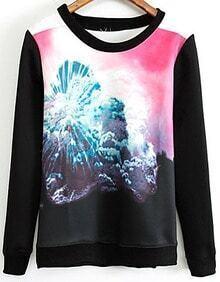 Black Long Sleeve Clouds Print Sweatshirt