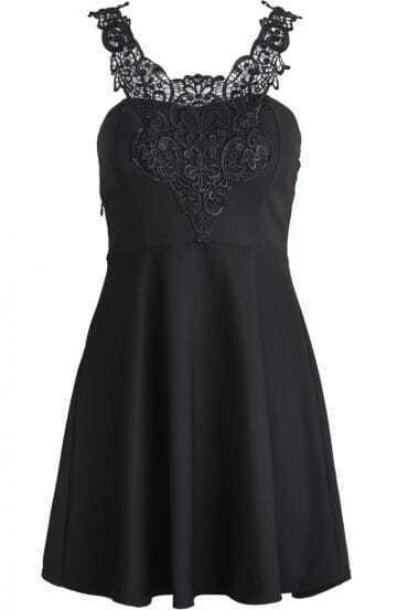 Black Lace Spaghetti Strap Ruffle Slim Dress