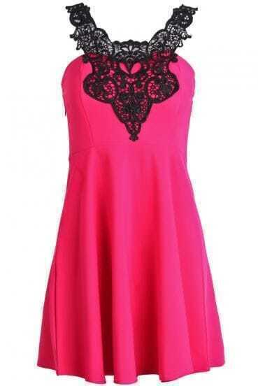 Rose Red Lace Spaghetti Strap Ruffle Slim Dress
