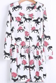 White Long Sleeve Horse Rose Print Dress