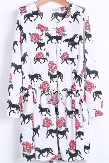 White Long Sleeve Horse Rose Print Dress