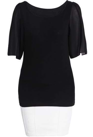 Black Half Sleeve Chiffon Top With White Bodycon Skirt