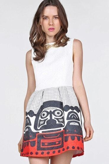 White Sleeveless Bead Plaid Vintage Dress