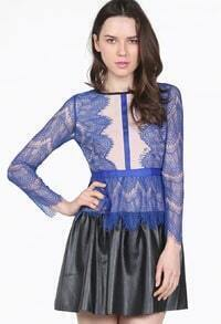 Blue Long Sleeve Contrast PU Leather Lace Dress