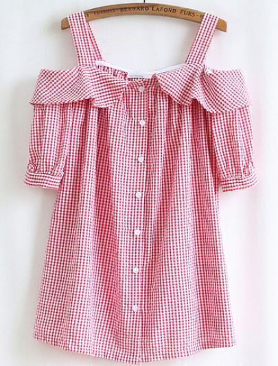 Pink White Plaid Off The Shoulder Blouse