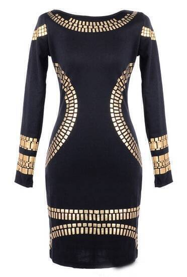 Black Long Sleeve Pencil Print Dress