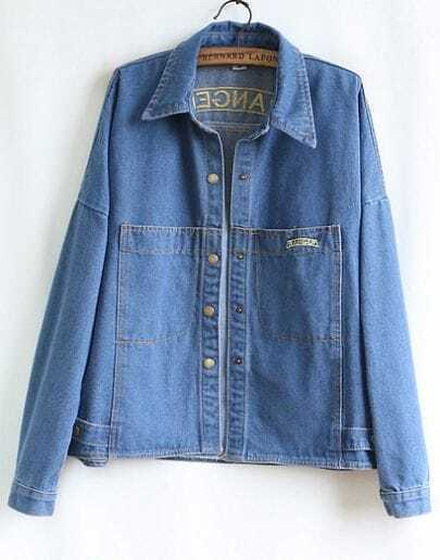 Blue Long Sleeve Pockets Denim Coat