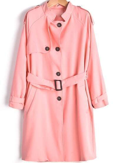 Pink Long Sleeve Epaulet Belt Coat