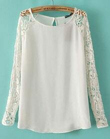 White Contrast Lace Long Sleeve Chiffon Blouse