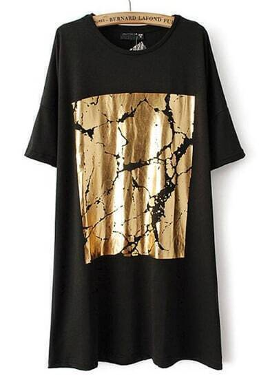 Black Half Sleeve Gold Print Loose Dress