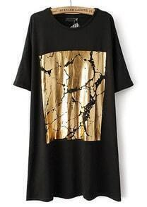 Black Half Sleeve Gold Print Loose Dress