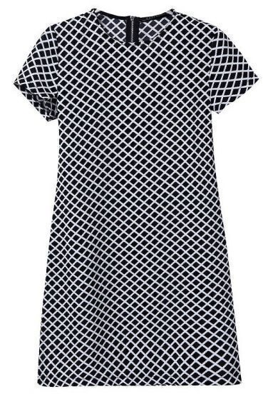 Black White Short Sleeve Diamond Print Dress