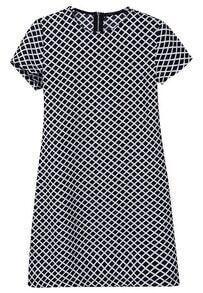 Black White Short Sleeve Diamond Print Dress