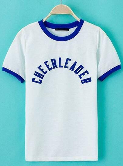 White Short Sleeve CHEERLEADER Print T-Shirt