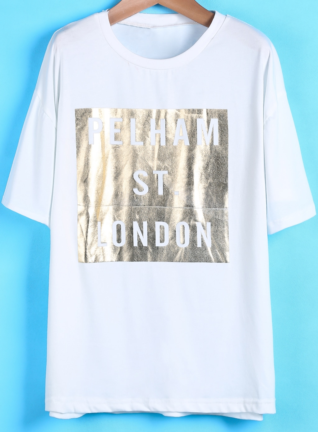 White short sleeve gold letters print t shirt shein for Letter print t shirt