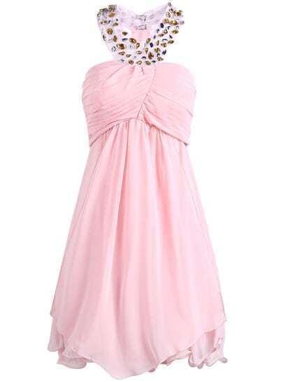 Pink Halter Bead Backless Chiffon Dress