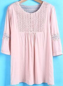 Pink Half Sleeve Hollow Loose Blouse